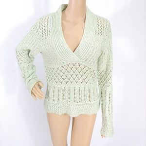 Anthropologie Mint Green Loose Cable Knit Sweater